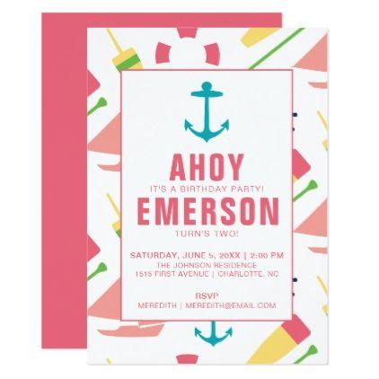 #Preppy Nautical Children's Birthday Party Girl Card - #birthday #invitations