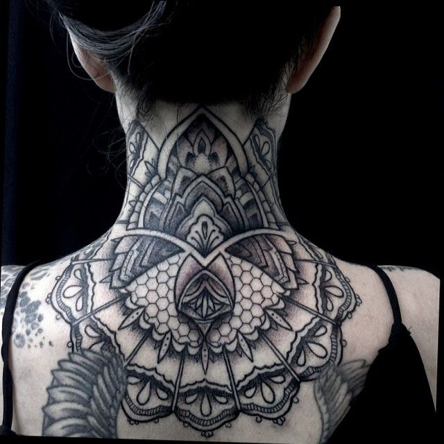 1adce1fb3 black and grey mandala neck tattoos - Google Search | Tattoos Black ...