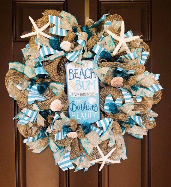 Photo of Sea shell Beach Wreath for front door, blue beach wreath