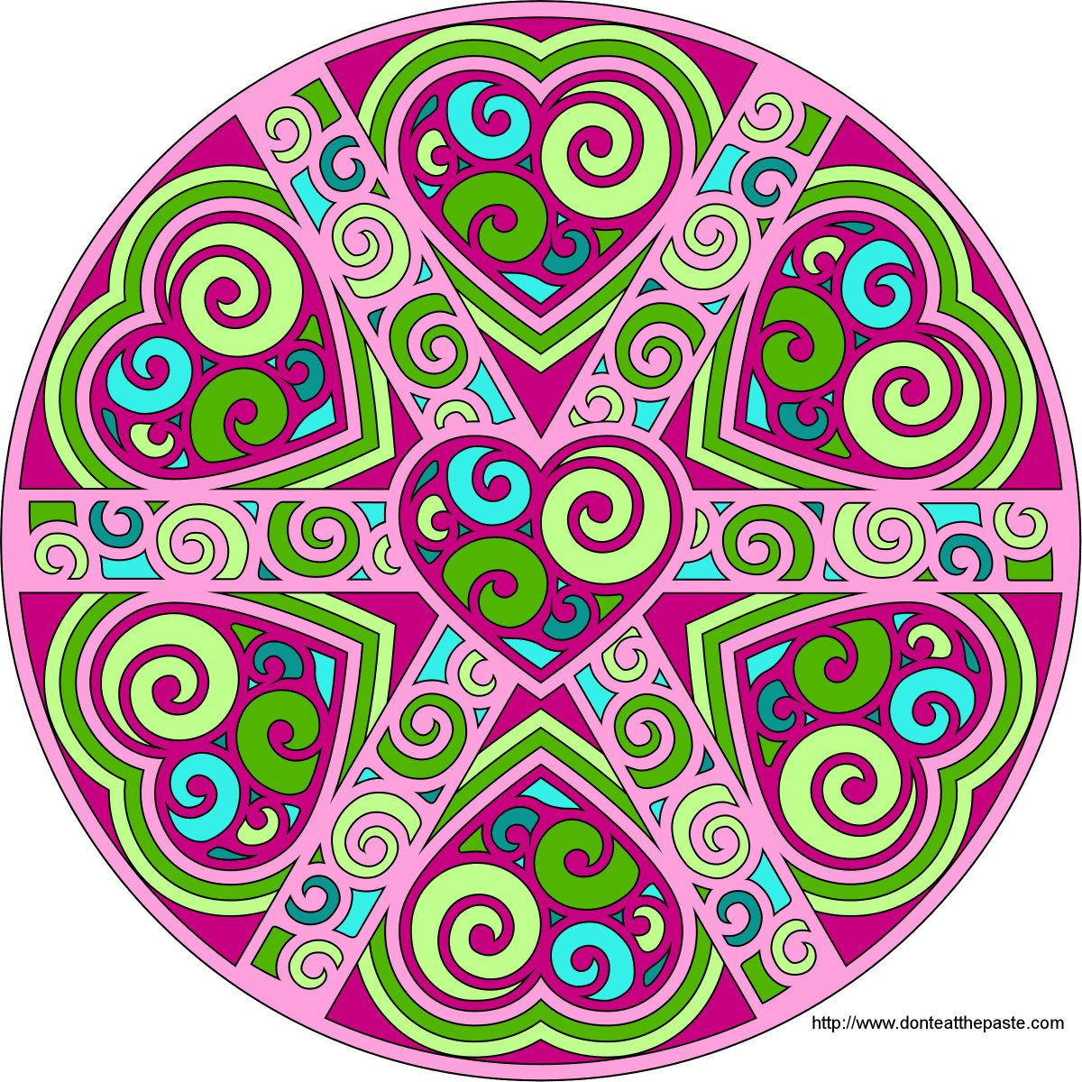 Swirled Hearts Mandala blank available to print and color