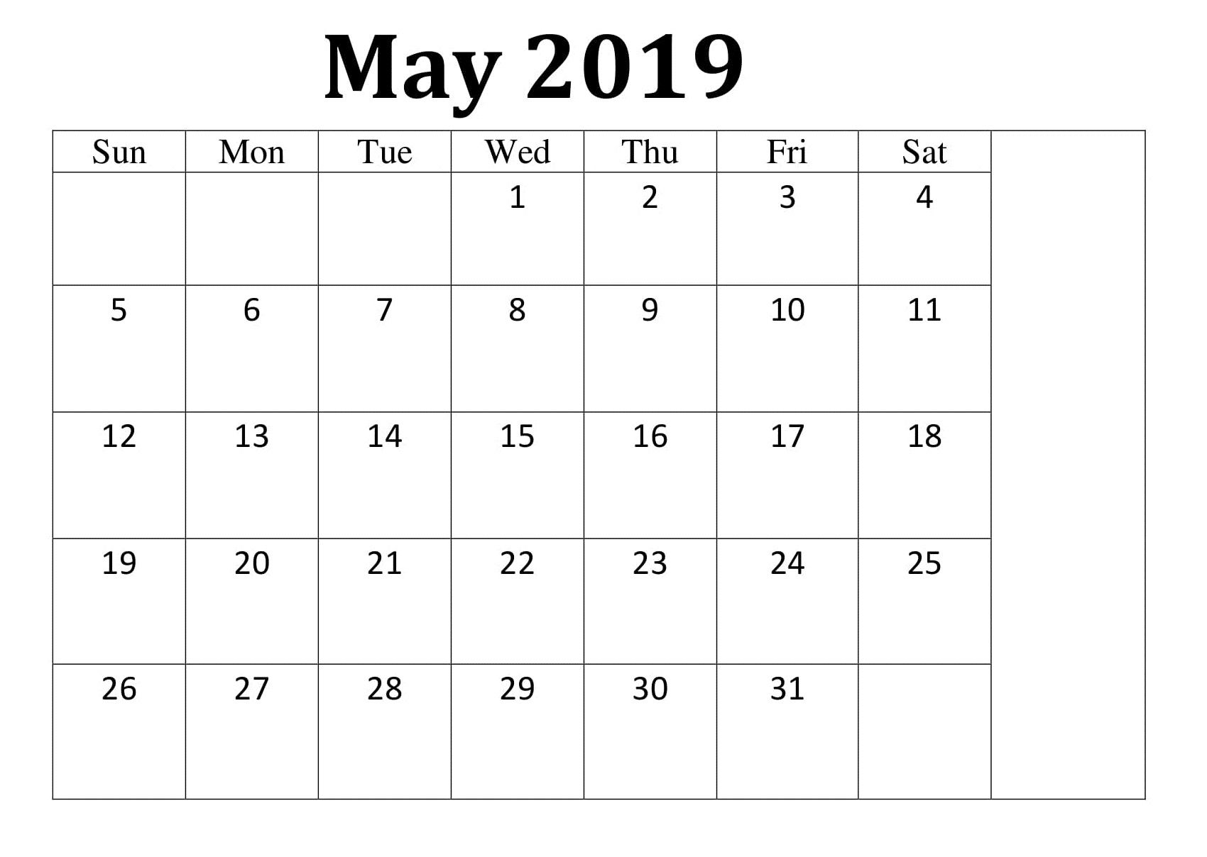 May Sheet Calendar Printable