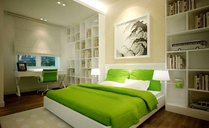 grüne und weiße schlafzimmer farben feng shui, viele kleine regale - schlafzimmer farben feng shui
