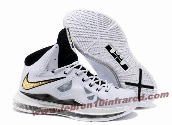 Mens Nike Zoom Lebron X 10 White Black Gold Shoe For Cheap
