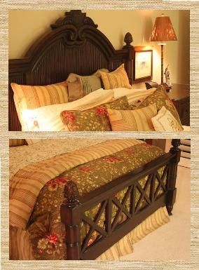 Tommy Bahama Home Bungalow Collection Pineapple Queen Bed Headboard Rails Footboard