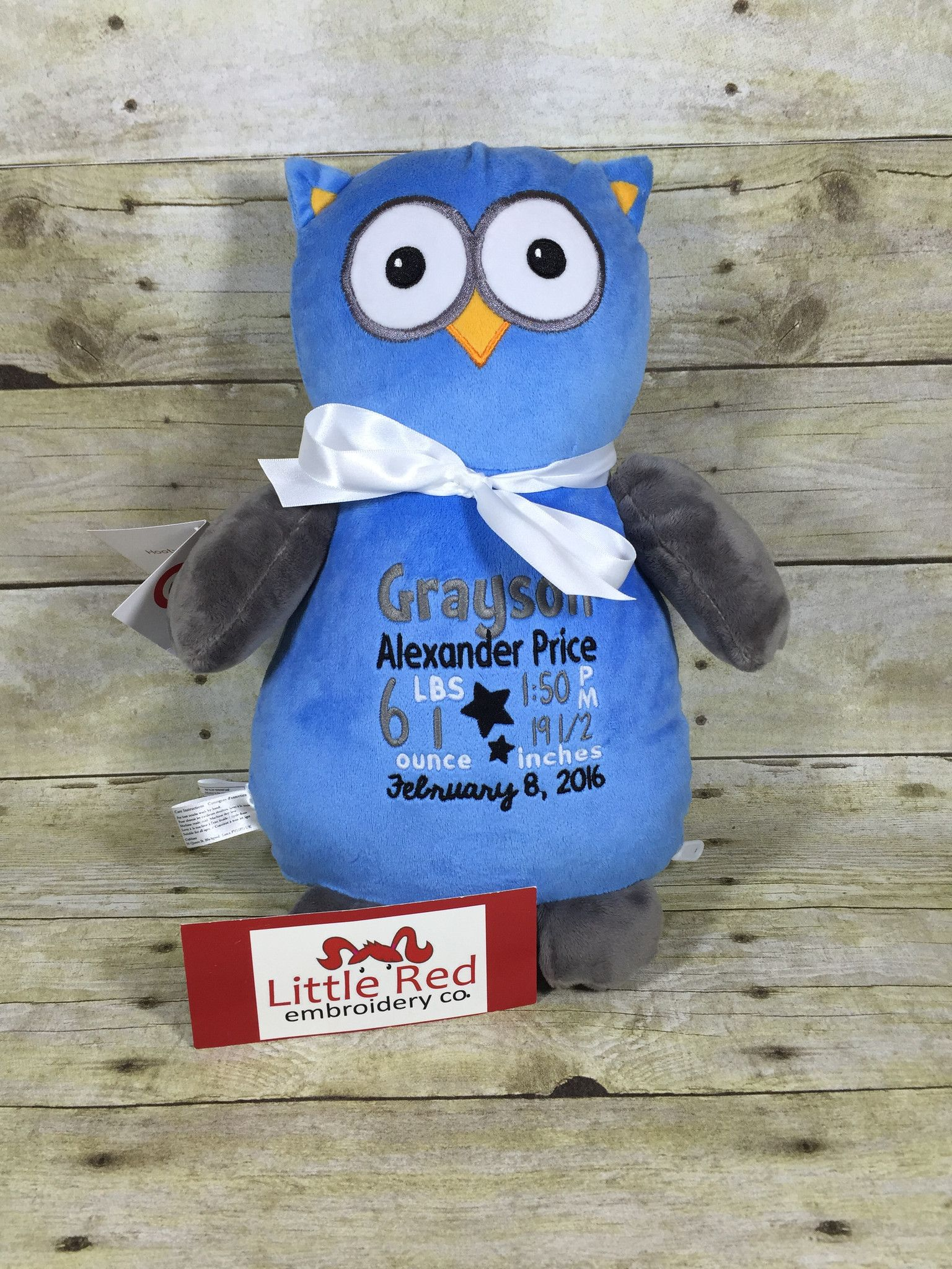 Grey Owl Stuffie With Custom Embroidery