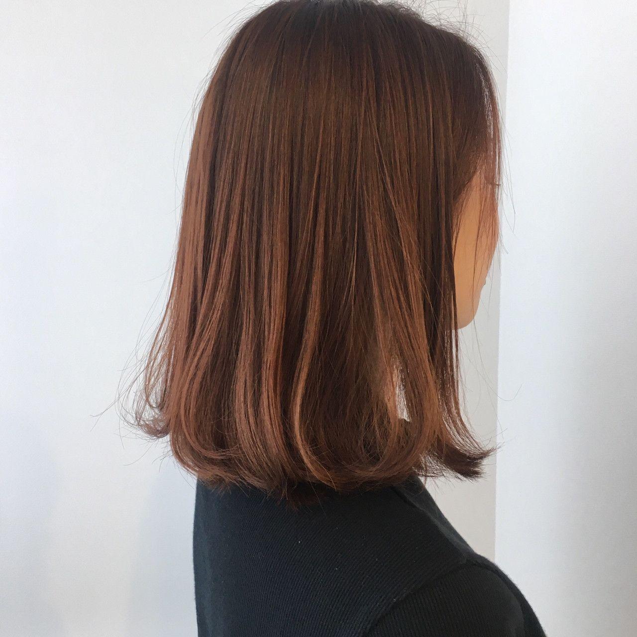 オレンジブラウン ヘアスタイリング ヘアカット 髪色 オレンジ