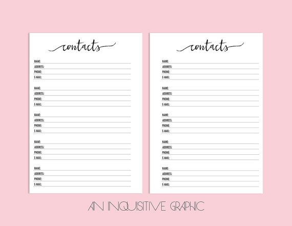 Contact Page A Planner Inserts Contacts Planner Printable