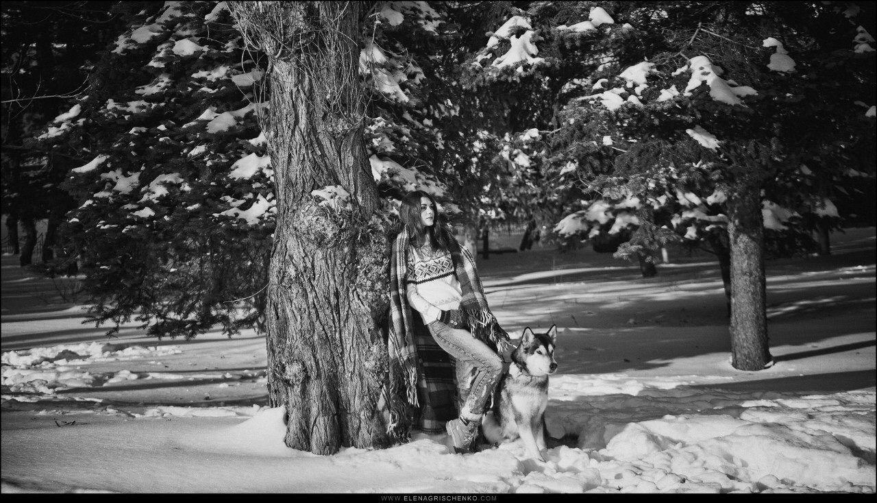 Dog, winter, photos, photo, photosession, girl, snow, Alaskan malamute, malamute, EG, EGphoto, Elena Grischenko, Ukraine, colorful, friend