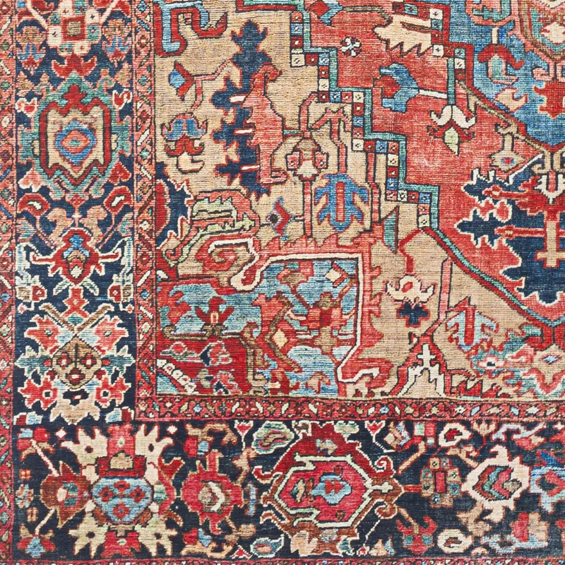Crook Oriental Power Loom Bright Red Navy Wheat Ice Blue Grass Green Ivory Rug In 2020 Vintage Medallion Ivory Rug Area Rugs