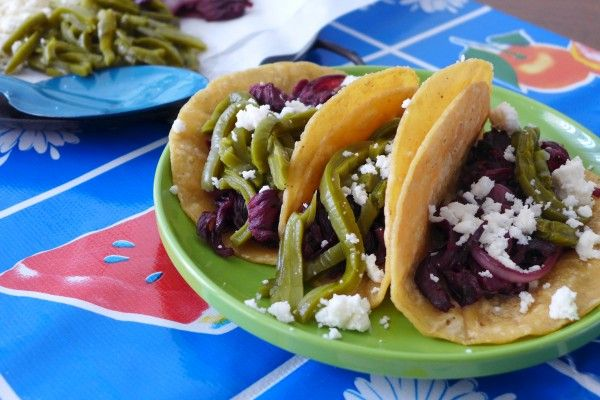 Hibiscus Flower And Cactus Tacos Nibbles And Feasts Recipe Tasty Vegetarian Recipes Tacos Food