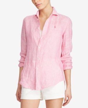 Polo Fit Lauren 14 Linen Striped Shirt Relaxed Pinkwhite Ralph thrQxBCosd