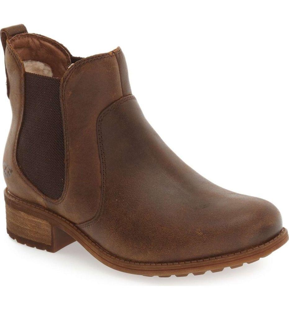 ea45c7ebcdc UGG AUSTRALIA Boots Bonham Chelsea Uggs Leather Brown Ankle Booties ...