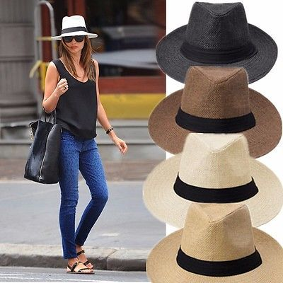 Womens Mens Unisex Straw Packable Travel Panama Hat Fedora Trilby Wide Brim Cap Outfits With Hats Summer Hats For Women Sun Hat Outfits
