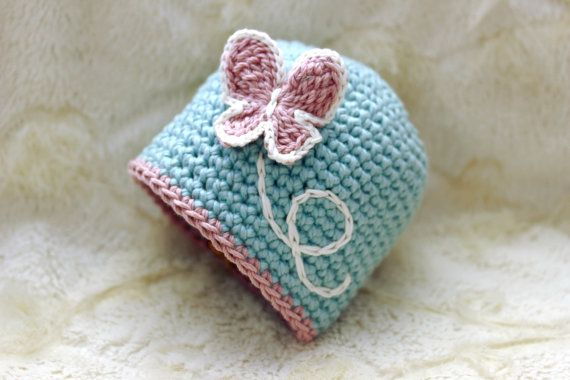Crochet Baby Girl Hat With Butterfly Appliqu In Size Newborn To 5yr