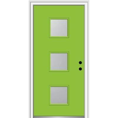Mmi Door 30 In X 80 In Aveline Left Hand Inswing 3 Lite Frosted Glass Painted Fiberglass Smooth Prehung Front Door Z0350096l Entry Doors Aluminum Screen Doors Frosted Glass Paint