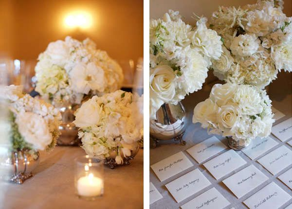 Obsessed with these centerpieces. | See more of this timeless real #wedding here: http://www.mywedding.com/articles/anne-mathias-san-francisco-wedding/