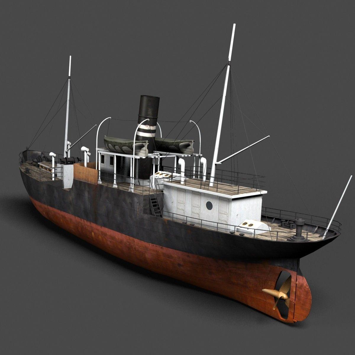 old steam ship 3d model | adventure | Scale model ships, Model ships, Flying ship