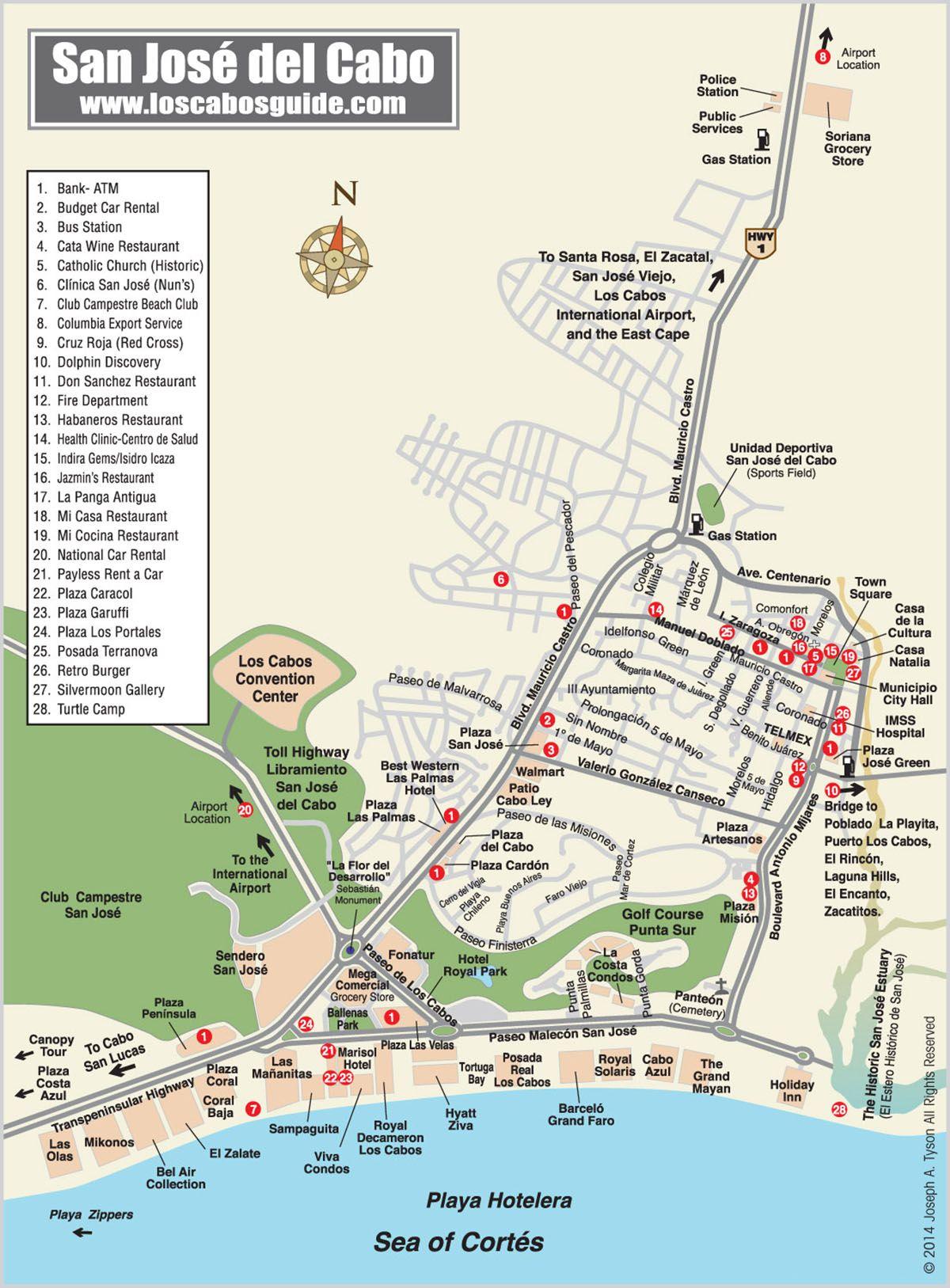 San Jose Del Cabo Mexico Map.San Jose Del Cabo Map Los Cabos Guide Travel Spots In 2019