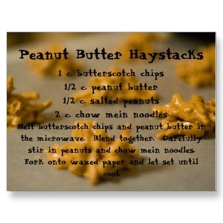 Postcard with a recipe for peanut butter haystacks on it.  YUMMY!