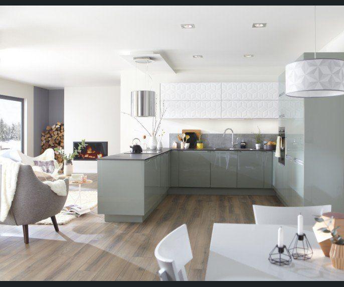 Cuisine Salon sejour Blanc beige naturel Vert CATA Contemporain - salon sejour cuisine ouverte
