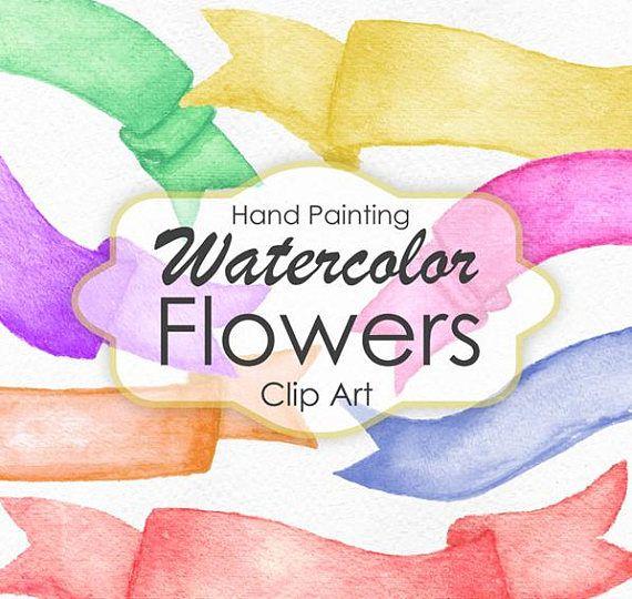 Watercolor Banners, Watercolor Clip Art, Watercolor Ribbons, Scrapbook Embellishment, Hand Painted watercolor, Digital Scrapbook