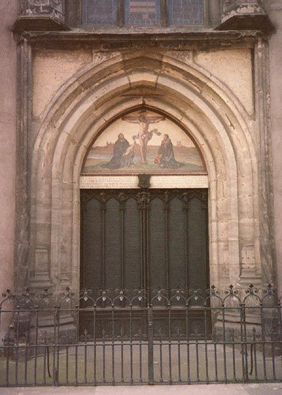 Wittenberg church where Martin Luther\u0027s 95 theses was posted. The original church was burned down & Wittenberg church where Martin Luther\u0027s 95 theses was posted. The ...