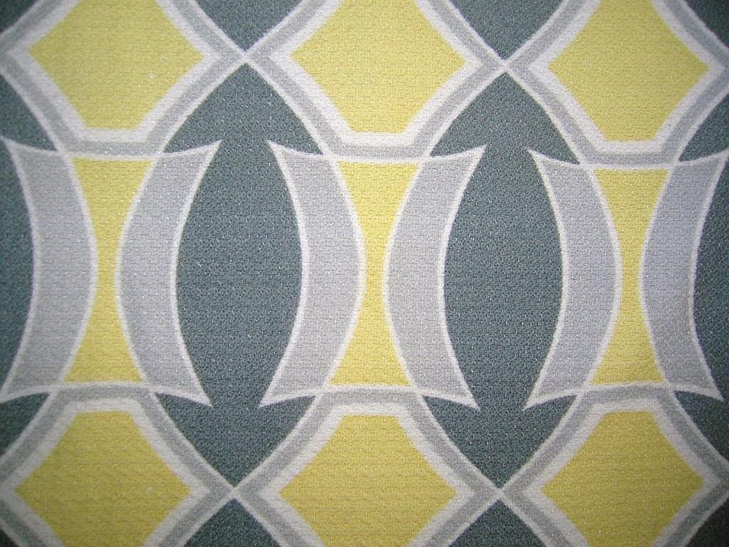 Gardin tyg bonad 50-tal grå gul grafiskt vintage retro på Tradera.com - 61b722e592219
