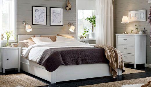 Doppelbett und Kleiderschrank, weiß, Serie BRUSALI | -home ...