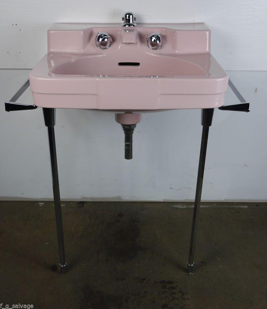 Antique Vintage Crane Bathroom Sink Shell Pink 1950's ...