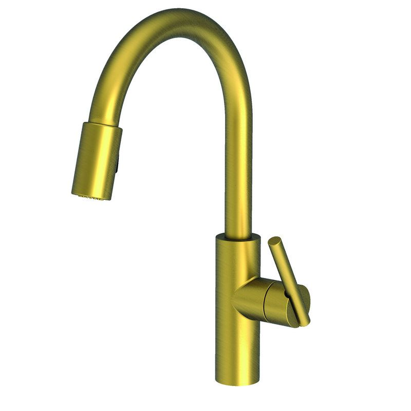 View The Newport Brass East Linear Kitchen Faucet With - Antique brass kitchen faucet pull out spray