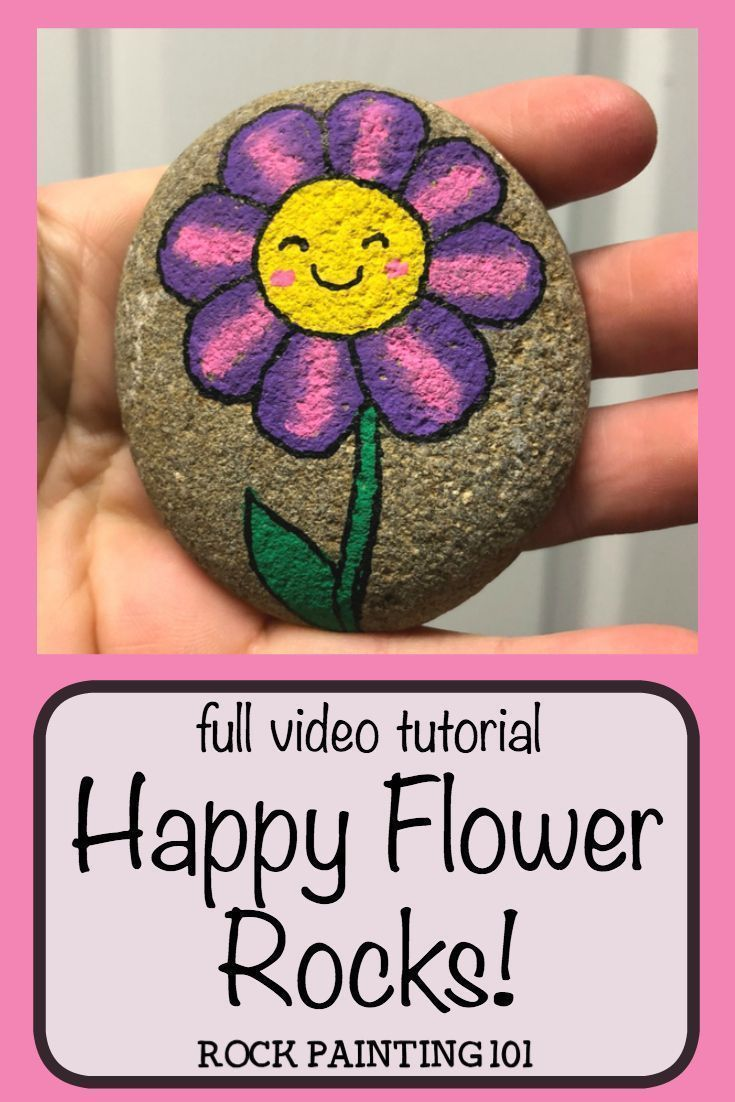 Happy Flower Rocks ~ An easy flower painting idea is part of Rock painting flowers, Easy flower painting, Rock painting tutorial, Flower painting, Painted rocks, Rock painting patterns - These happy flower rocks are an easy flower painting idea that works perfectly on rocks! I can just imagine the smile on someones face when they find this fun stone painting idea