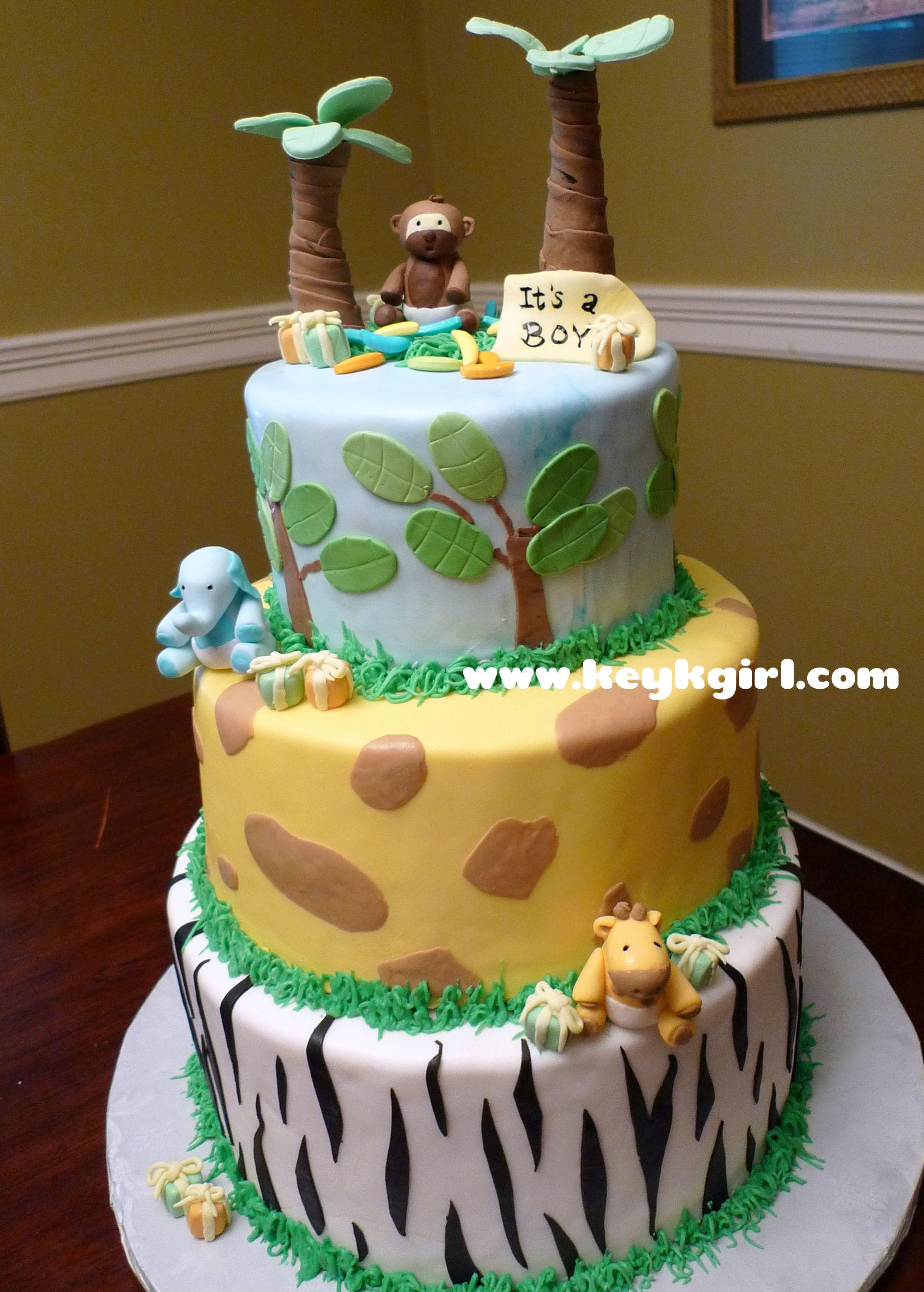 safari baby shower cake buttercream