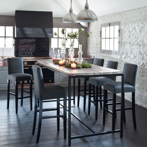 Solid Wood And Metal Industrial Dining Table W 210cm Long Island Tall Kitchen Table High Top Dining Table High Dining Table