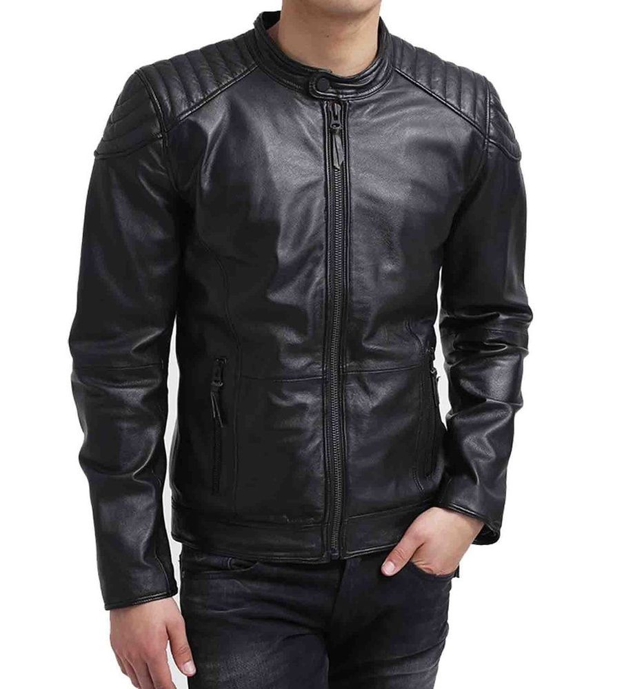 29 crafat Men Leather Jacket Black Slim Fit Biker Motorcycle Lamskin Jacket