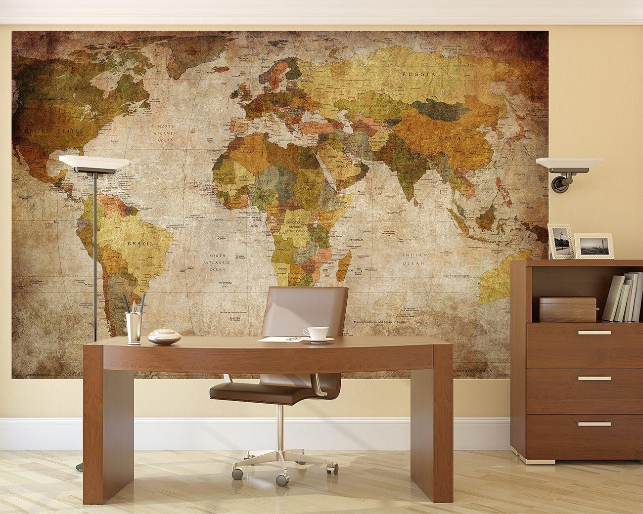 Best New Pre Pasted Wall Mural Wallcovering Photo Decor World Map Wallpaper Living Room 827