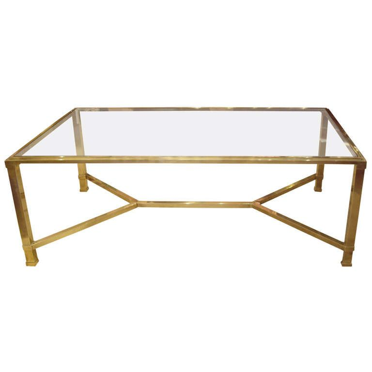 Brass Display Coffee Table: Vintage French Glass And Brass Coffee Table