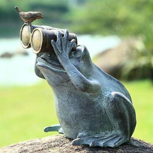 Spectator Frog  Bird Friend With Binoculars Garden Sculpture