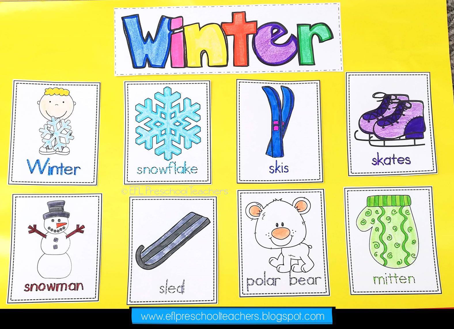 Seasons Unit Worksheets For Preschool Esl