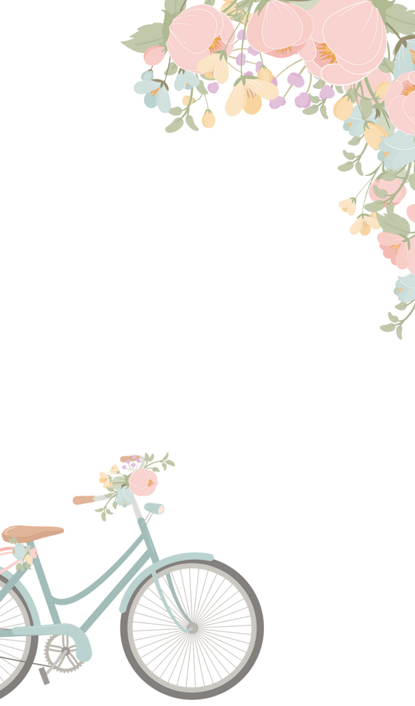 Kindle Watercolor Floral and Blue Bicycle Wallpaper by The Birch Cottage