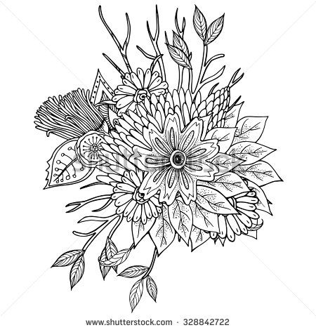 Vector pattern for coloring book. Ethnic retro design in zentangle ...