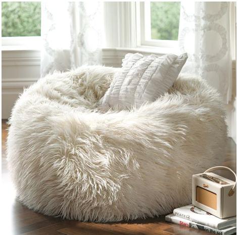 So soft... roombyroom Bean bag chair, White fluffy