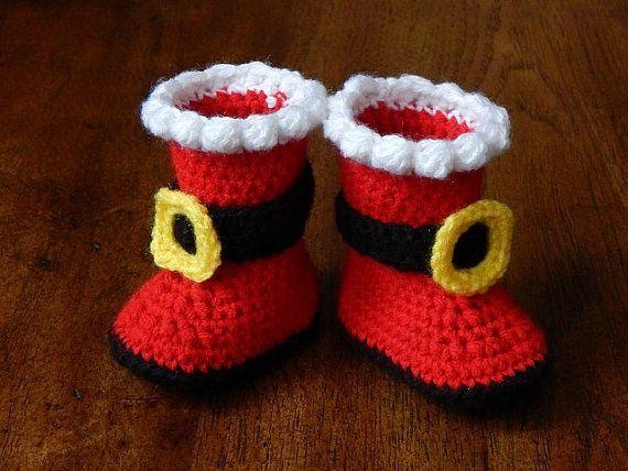 Botas de bebé: Botas Santa recién nacido-3 por MissNissDesigns