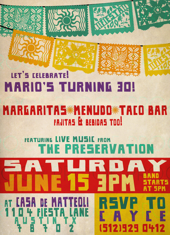 Fiesta Invitation Birthday Party Cinco de Mayo Papel Picado