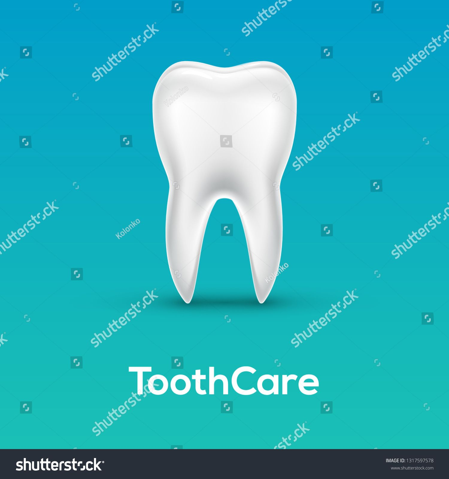Tooth Care Dental Icon Vector Healthy Dentist Background Blue Clean Tooth Bright White Dentistry 3d Medical Illustratio In 2020 Dental Medical Illustration Teeth Care