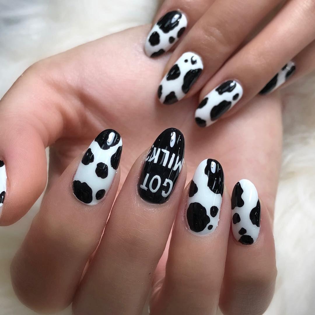 Cow Print Nails Cow Nails Paw Print Nails Animal Nail Designs