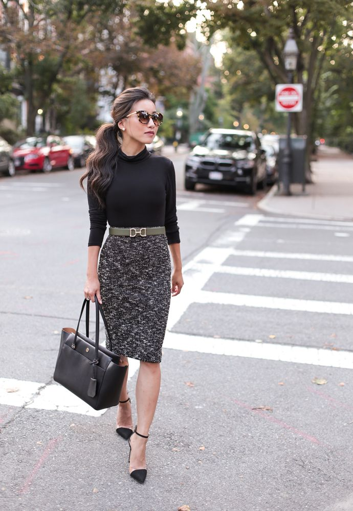 22cd1b2060 Fall office style // Olive jacket + tweed pencil skirt | my style ...