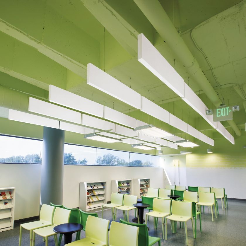 Classroom Acoustic Design ~ Mineral wool acoustic baffle optima armstrong ceilings