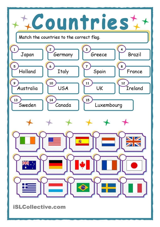 52 Free Esl Flags Worksheets