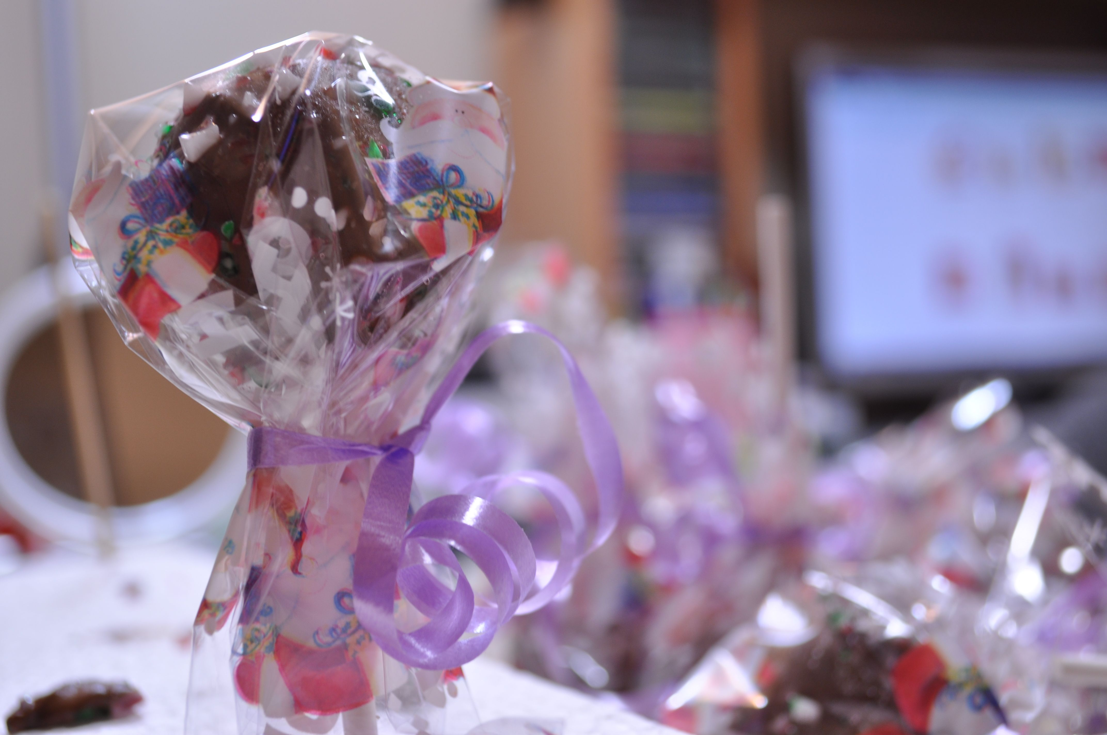 Finished Cake Pops. All wrapped and ready to give away for Christmas :)