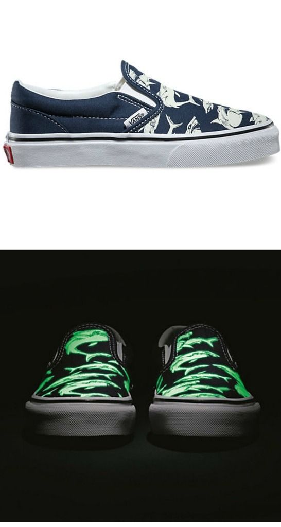 0c8424e2a32 Vans  glow-in-the-dark shark slip on shoes for kids. Awesomeness.